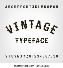 Western style retro distressed alphabet font. Letters and numbers. Vintage vector typography for labels, headlines, posters etc.