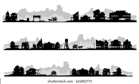 Western style silhouette buildings with old stagecoach. All in separated layers.