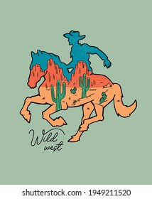 Western theme, a cowboy on  horse. Vector illustration for t-shirt prints, posters, and other uses.
