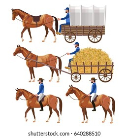 Western theme with horse carriage and riders. Vector illustration