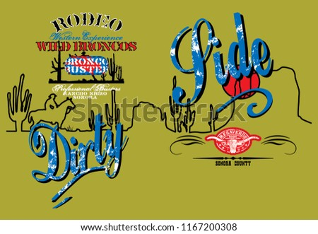 western themed white patterned blue texts stock vector royalty free