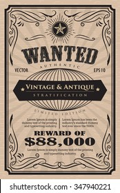 Western vintage frame label wanted antique hand drawn retro vector illustration
