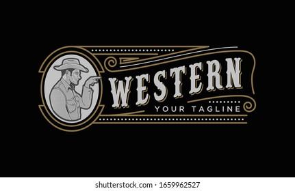 Western Vintage Label Emblem Cowboy,Logo Design Inspiration.
