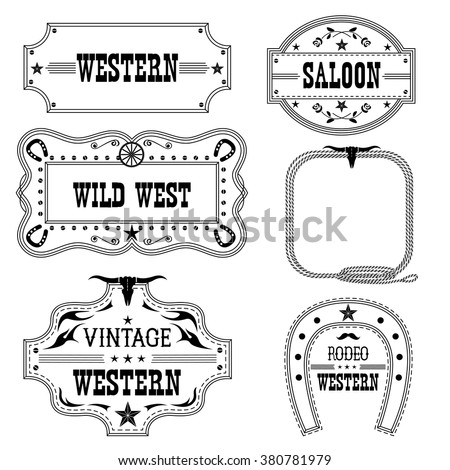 Western Vintage Labels Isolated On White Stock Vector (Royalty Free ...