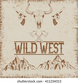 Western vintage poster with skull of bull and mountains.Typography design for t-shirts.Vector illustration