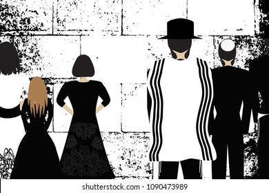 Western Wall, Jerusalem. The Wailing Wall. Religious Jewish Hasidim in hats and talith and women pray. Black and white vector illustration