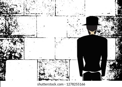 Western Wall, Jerusalem. The Wailing Wall. Religious Jewish Hasidim in hats and talit pray. Black and white vector illustration
