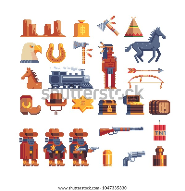 Western Wild West Pixel Art Icon Stock Vector (Royalty Free