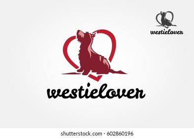 Westie Lover Vector Logo Template. Vector silhouette of a westie dog on a white background.