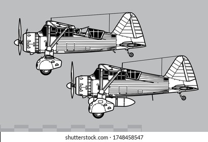 Westland Lysander. World War 2 liaison and special operations aircraft. Side view. Image for illustration and infographics.