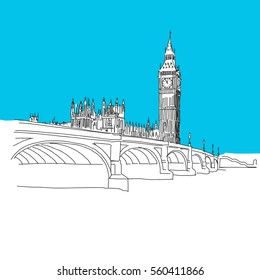 Westminster and Big Ben, hand-drawn vector drawing, blue series