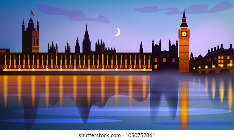 Westminster Palace in the evening and Big Ban