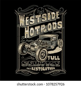 Westside Hotrods typography with car illustration for T-Shirt placement print / Vector Design