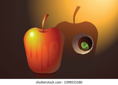 wet apple cast shadow on wall. green worm in hole of wall. maggot eats  shadow of apple instead of red apple