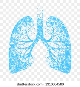 Wet cough vector icon. Blue lungs, cold wet cough remedy and bronchitis mucolytic