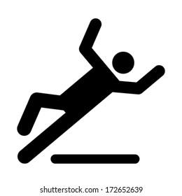 Wet floor caution sign. Danger of slipping isolated on white background