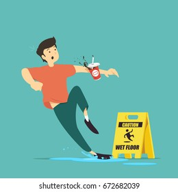 Wet floor caution sign. Man slips in water. Vector illustration.