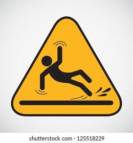 Wet floor caution sign. Vector illustration.