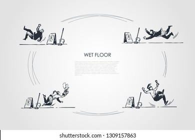 Wet floor - people falling down on wet floor with special sign vector concept set. Hand drawn sketch isolated illustration