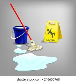 Wet floor sign with drop water, bucket and mop. Vector illustration.