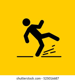 Wet Floor sign, falling man. Yellow background. Isolated vector illustration.