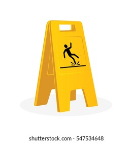 Wet floor sign, falling man. Cleaning. Isolated flat vector illustration