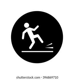 Wet floor warning sign in circle . Vector illustration