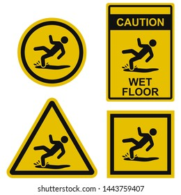 Wet floor - warning sign isolated on white background. Set of vector illustrations in different form. Caution symbol warns of possible injury due to a fall on slippery floor. Used during wet cleaning.