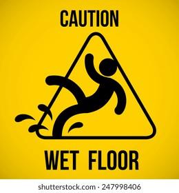 Wet floor warning sign. Vector illustration.