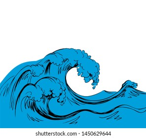 Wet fresh blue spume curly breeze gale pure fluid motion scene. Line cyan color hand drawn sign icon logo symbol design in art doodle retro style. Scenic view on space for text on light sky card