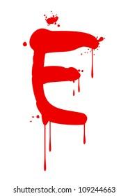 Wet paint font type, letter E