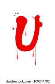 Wet paint font type, letter U