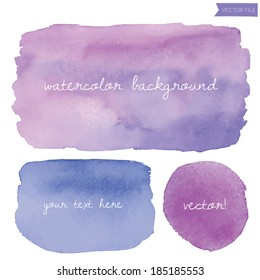 Wet Purple Vector Watercolor Background Rectangle and Circle