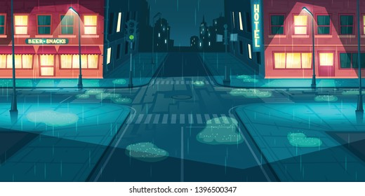 Wet and rainy weather in night city or town cartoon vector with hotel, bar or pub illuminated facades on empty roads intersection, paddles on sidewalks, working street and traffic lights illustration