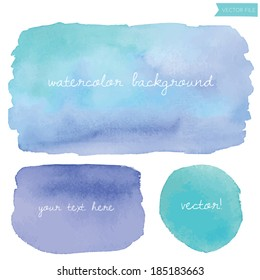 Wet Watercolor Vector Background with Teal Blue Circle and Squares