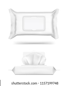 Wet wipes flow pack with realistic transparent shadows on white background. Vector template for your design. Front and side view. Can be used for medical, cosmetic and hygiene. EPS10.