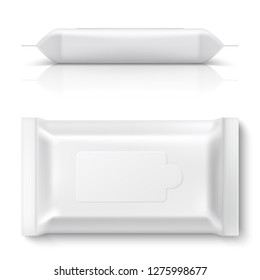 Wet wipes flow pack. Realistic white baby wipe packaging 3D empty blank pillow pack mockup plastic tissue box. Vector design template