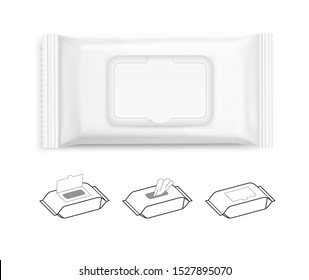 Wet wipes flow pack with realistic transparent shadows on white background. Taking your 2D designs into 3D. Can be use for medicine, food, cosmetic and other. EPS10.