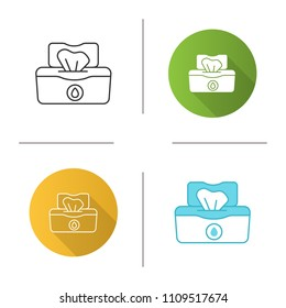 Wet wipes pack icon. Tissues. Antibacterial napkins. Flat design, linear and color styles. Isolated vector illustrations