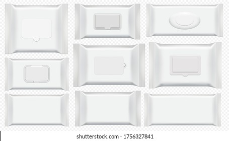 Wet wipes package. Antibacterial wipe plastic pack template isolated set. Blank white box top view for wet toilet tissue. Cosmetic foil bag mockup on tranparent background