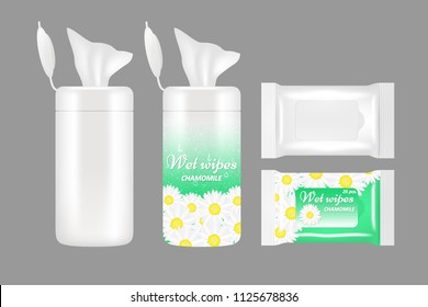 Wet wipes package mockup set. Vector realistic illustration of white blank and chamomile wet wipes plastic packaging bags and plastic containers with flap.