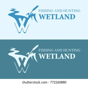 Wetland cattail on bright and blue background, Vector Illustration of wild lake, EPS10