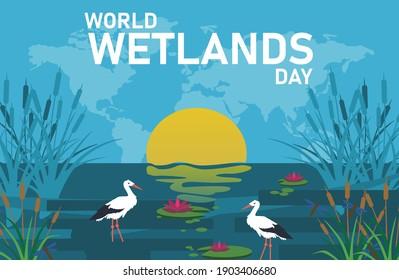 wetland day vector creative design.wolrd wetland day vector design.creative design.2 february world wetland day vector design.world wetlands day vector.international wetlands