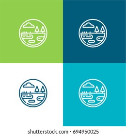 Wetland green and blue material color minimal icon or logo design