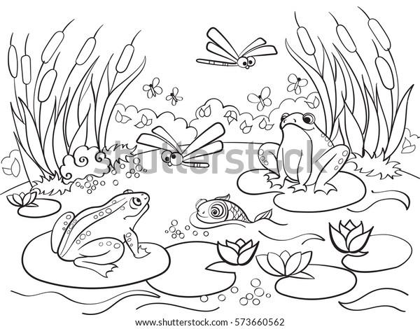 Yetiskin Vektor Illustrasyon Icin Hayvan Boyama Stok Vektor