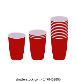 Wets of plastic red cups stacked in 3 piles