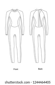 Wetsuit with back zip, vector art
