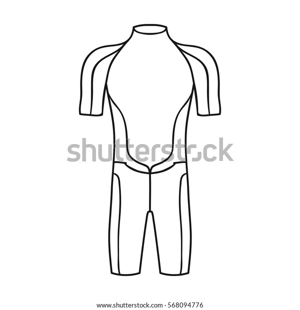 Wetsuit icon in outline style isolated on white background. Surfing symbol stock vector illustration.