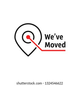 we've moved like location pin. flat stroke lineart modern simple logotype graphic art design isolated on white background. concept of interest land mark like ecommerce delivery or office transfer