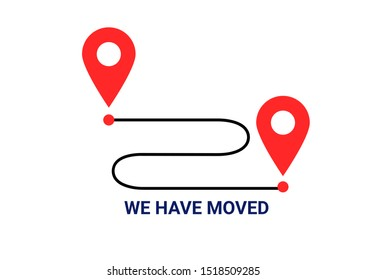 We've moved. Moving office sign. Clipart image isolated. Vector icon, symbol moved announcement design image isolated on white background.